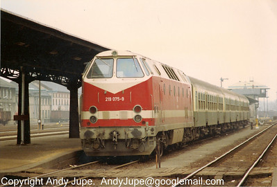 DBAG Class 219, number 219 075-9 sits at Zittau, Germany at some point in the early 1990s