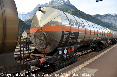 A very clean and shiny tank wagon, number 37 80 7809 973-6 (Zagns) passes through Erstfeld, Switzerland on the 17th of October 2012