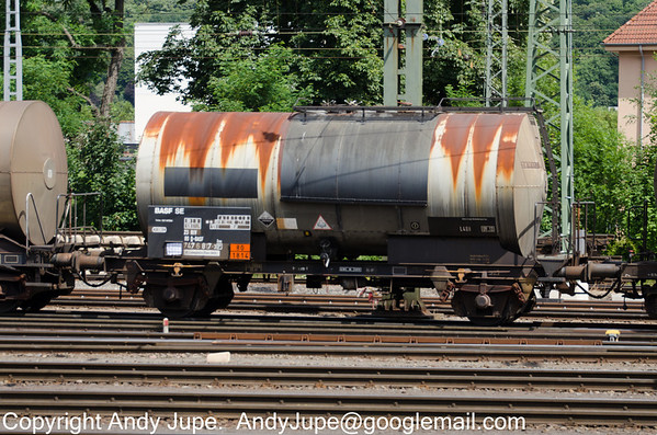 Another German registered 2 axle wagon Zces 23 80 7476 817-3 carrying UN Code 1814 (Potassium Hydroxide) passes through Aachen West yard in Germany on the 30th July 2013