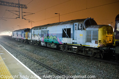 37 884 & 37 800 sit in freezing fog at Rugby station in the early hours of Friday 14th December 2012 whilst being moved in the consist of 6Z19 01:25 Wembley Yard to Bescot