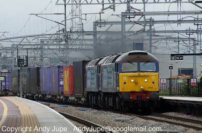 57 008 & 57 011 pass through Rugby station whilst working 4M34 04:26 Coatbridge to Daventry intermodal rail service on the 17th of August 2012