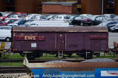 Generator vehicle for the 'Octopus' set of wagons, VXA 210306 passes through Toton Yard on the 08th May 2012
