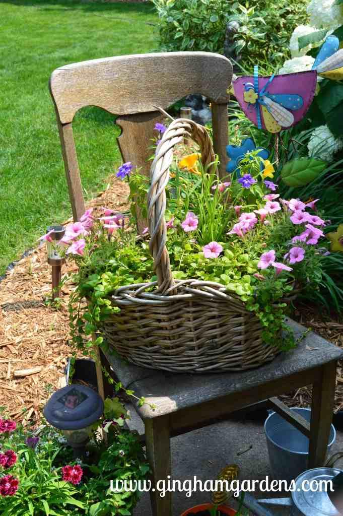 Garden Vignettes Using Flea Market Finds - Chair