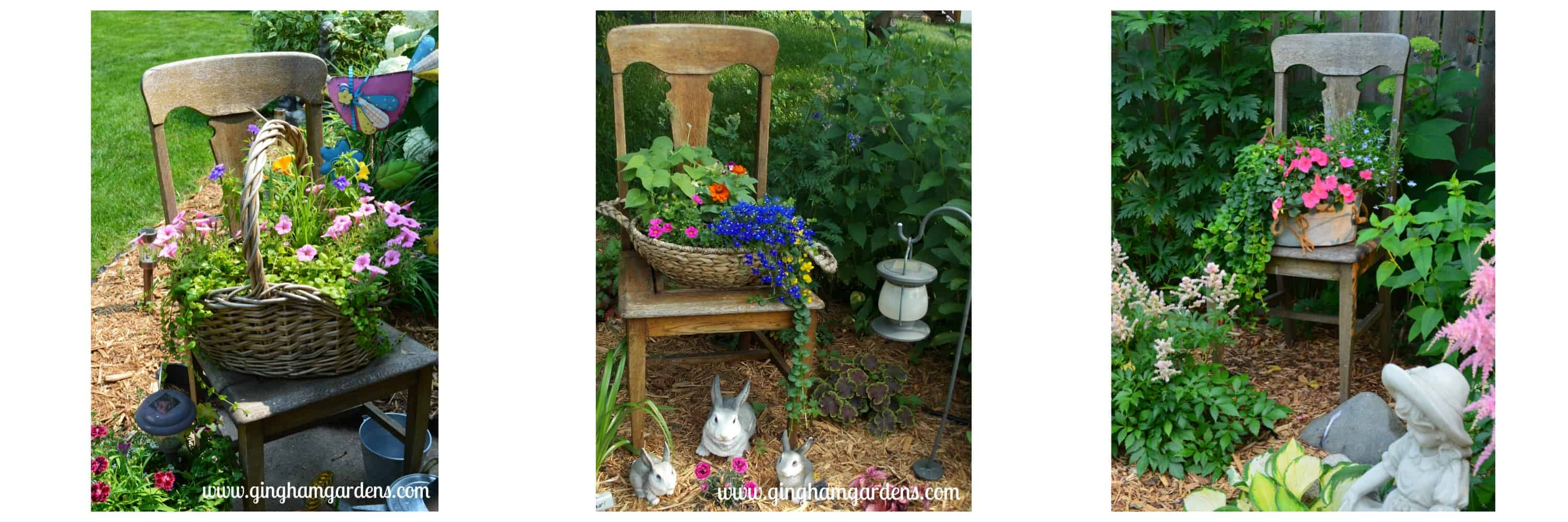 Vintage chair used in garden vignettes.