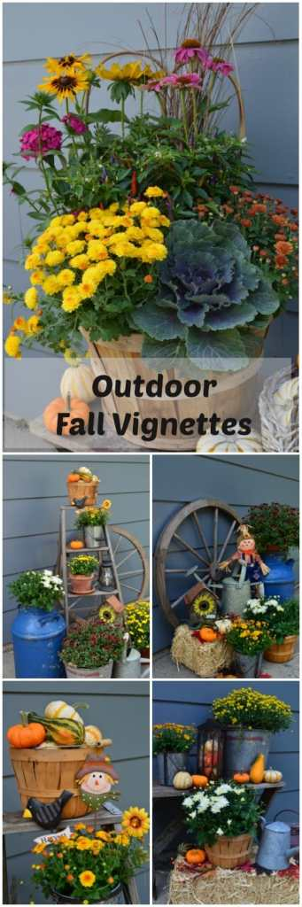 Outdoor Fall Vignettes, Outdoor Fall Decor Ideas, Traditional Fall Decor, Fall Porch Ideas