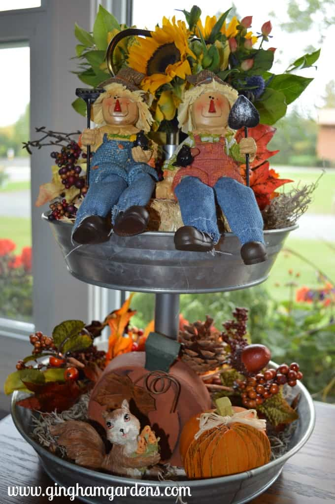 Fall Decor - Galvanized Tiered Tray