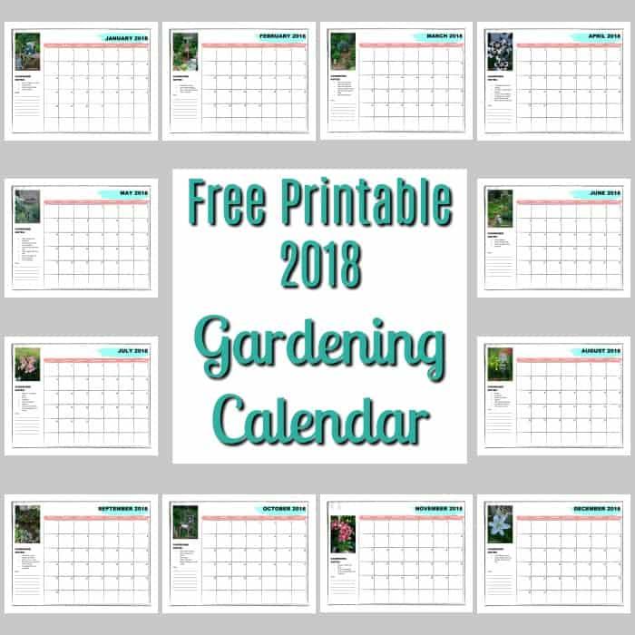 Free Printable 2018 Gardening Calendar