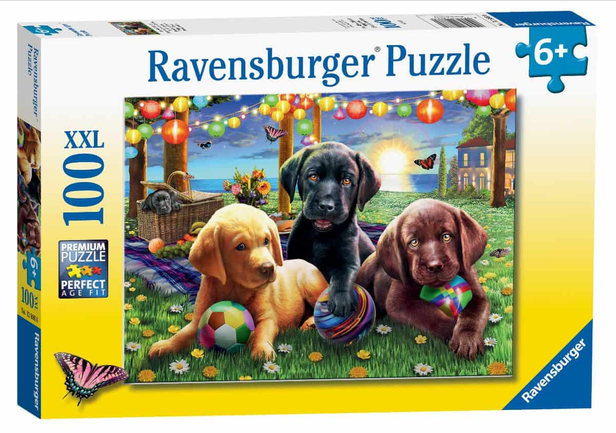 Puppy Picnic 100 piece jigsaw puzzle from Ravensburger