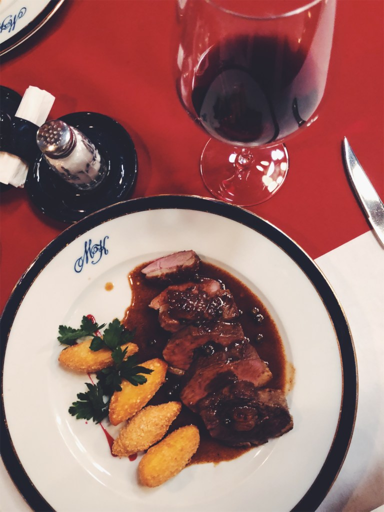 Flambeed duck with red wine