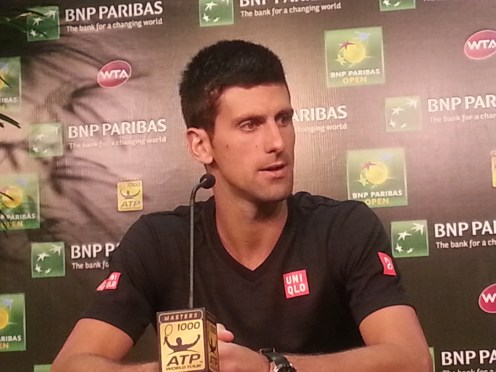 Novak Djokovic speaks during a press conference at the BNP Paribas Open in March, 2015.