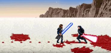 Luke Skywalker fighting Kylo Ren 16Bit Style