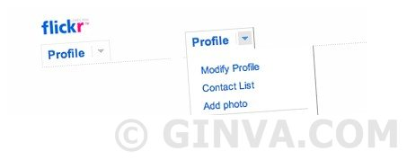 Flickr like horizontal menu - Drop Down CSS Menus
