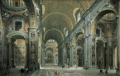 """Giovanni Paolo Pannini, """"Interior of St. Peter's"""" (1731)"""