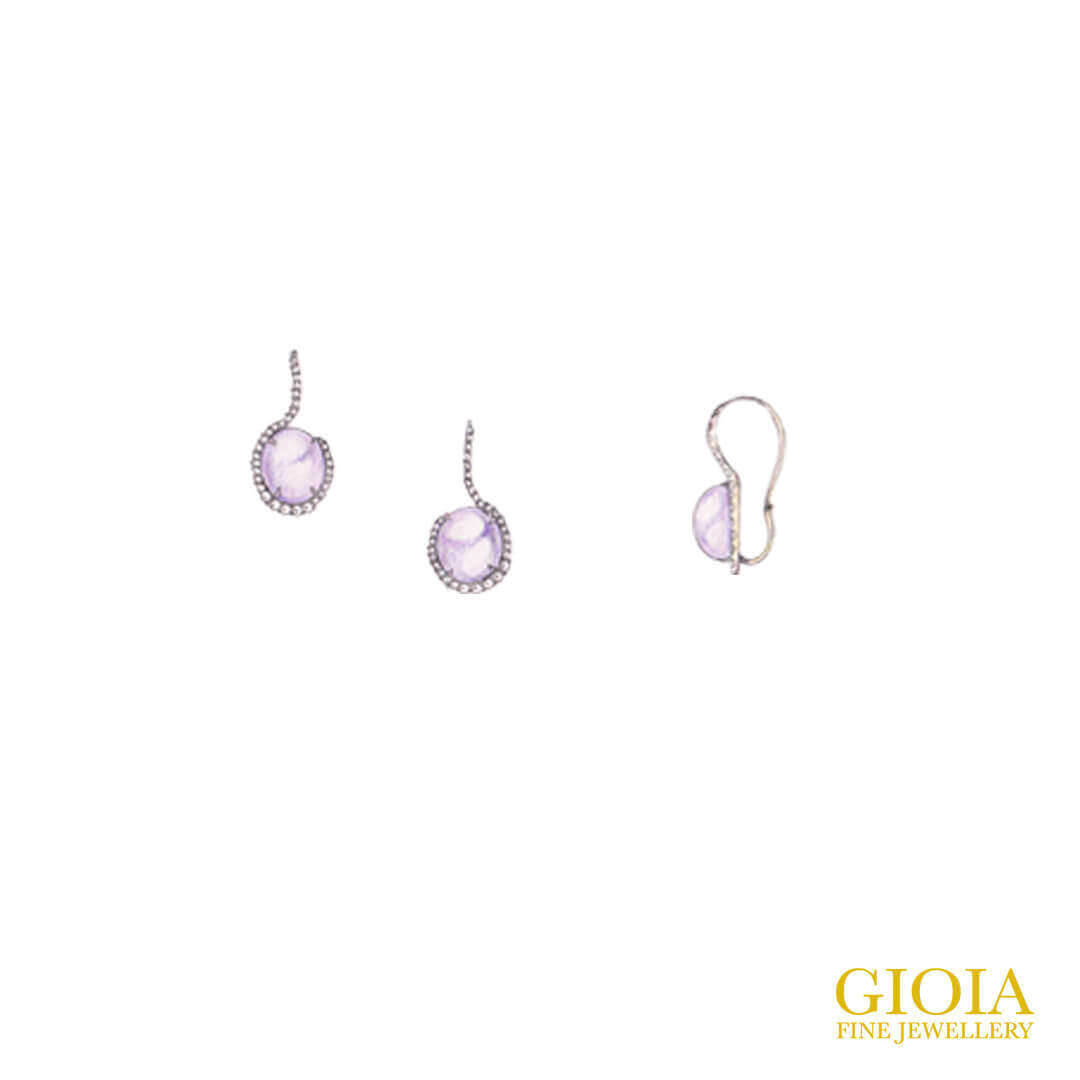 Lavender Jadeite Earring with micro-set diamond Earring