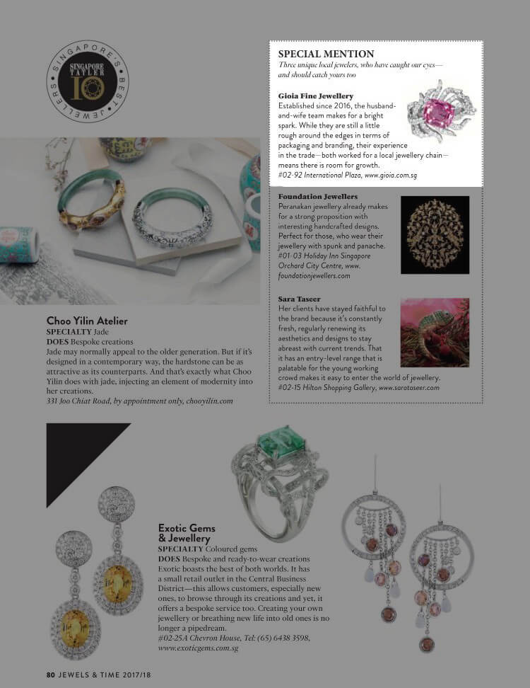 Tatler Top 10 Local Singapore Jeweler | Customised Jeweler - GIOIA Fine Jewellery