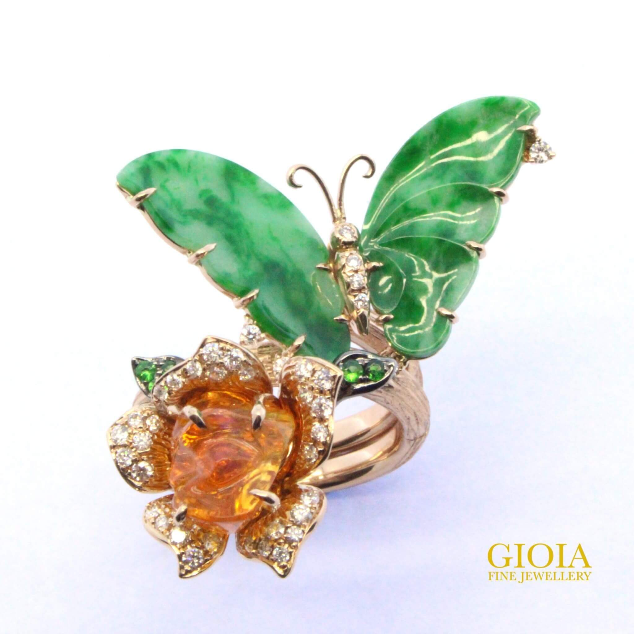 Butterfly Jade with Fire Opal