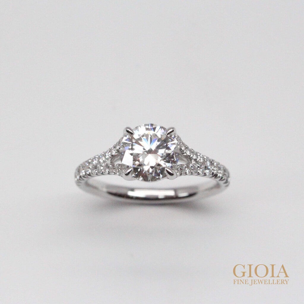 Unique Diamond Proposal Ring - Round brilliant ideal diamond with unique solitaire design | Local Customised Jeweller