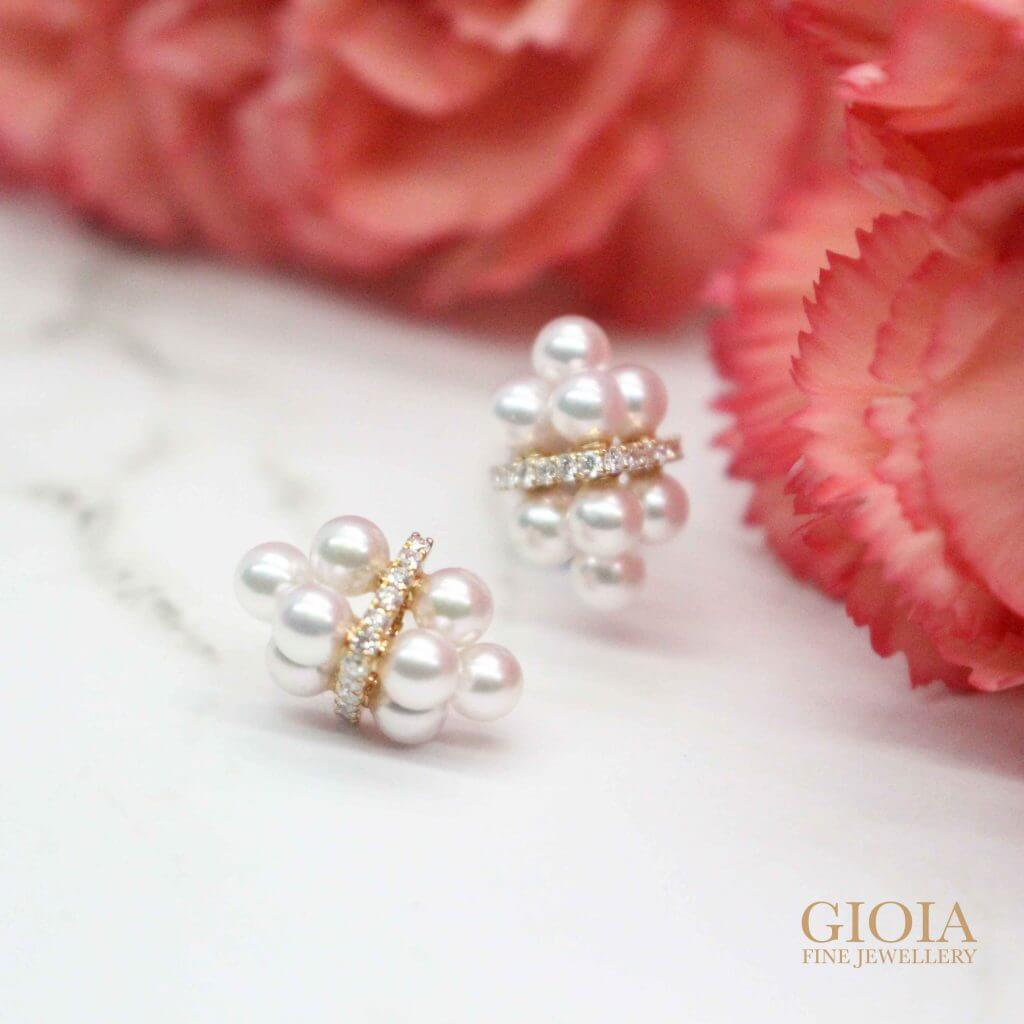 Gift for Mother's Day? Custom made Akoya Seed Pearl Diamond Stud Earring, unique earring jewellery as a present or own jewellery collection - Local Singapore Trusted Customised Jeweler