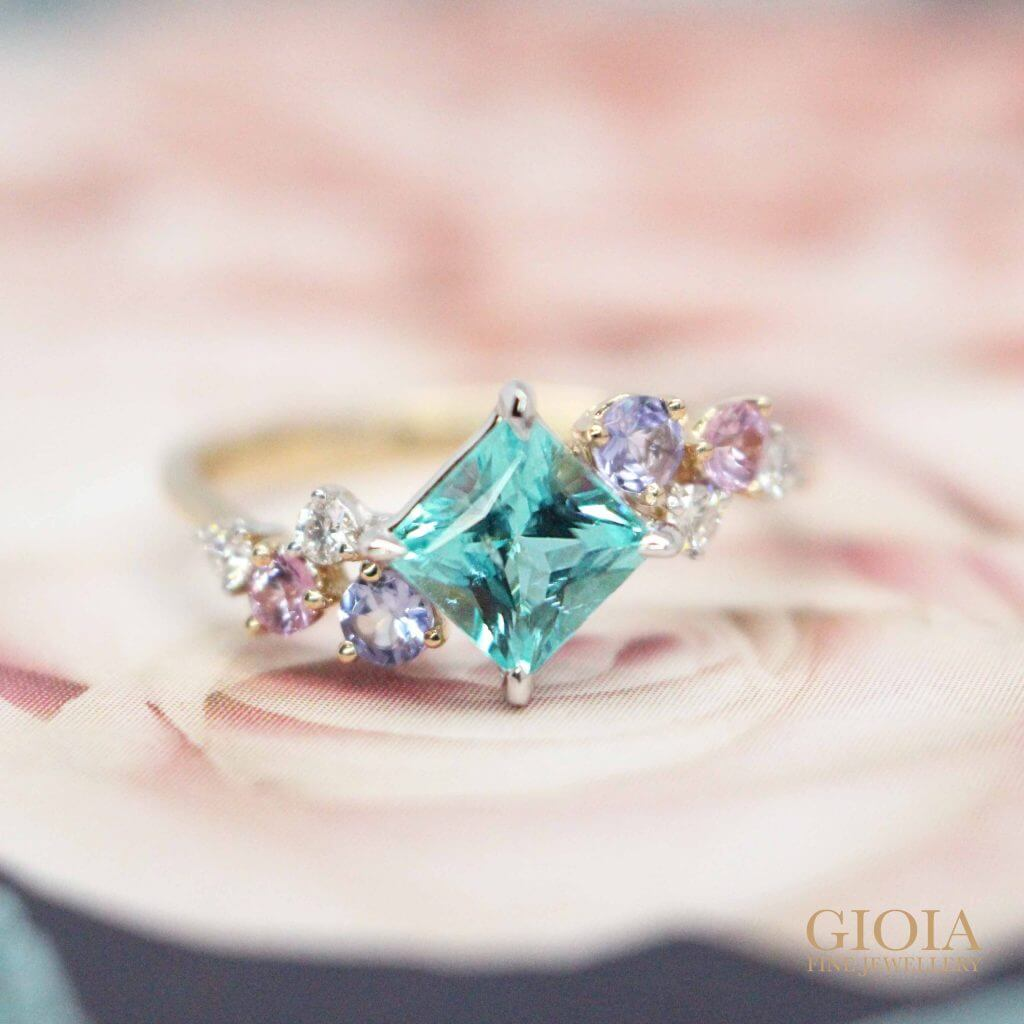 Paraiba & blue and pink Coloured Sapphire Gemstone Ring, unique anniversary gift | Local Singapore customised jeweler