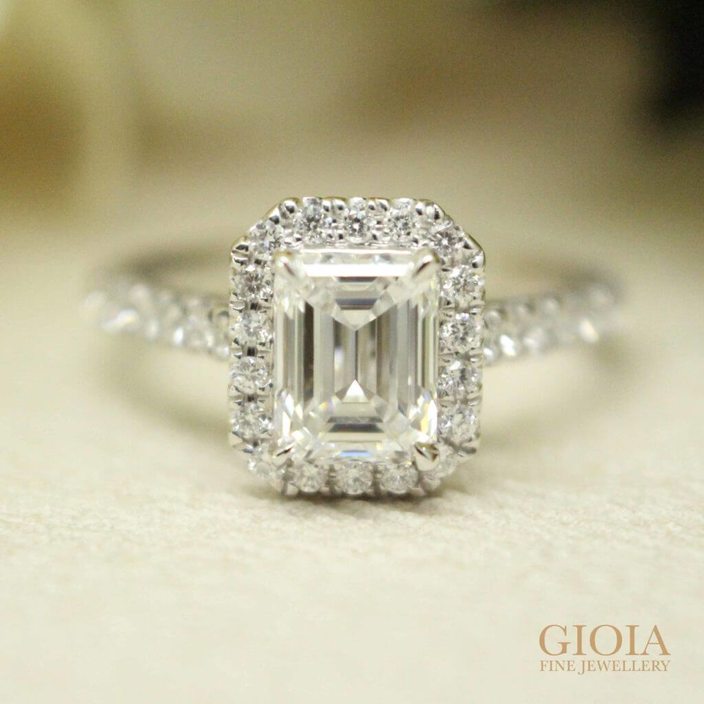 Emerald-cut diamond Proposal Ring | Customised wedding proposal ring at GIOIA Fine Jewellery