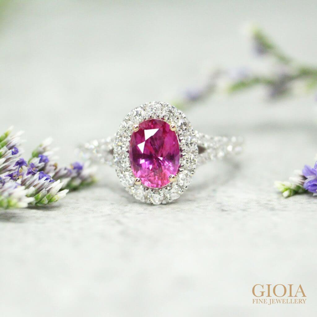 Natural vivid pink sapphire coloured gemstone, customised wedding ring | Local Singapore Bespoke Jeweller