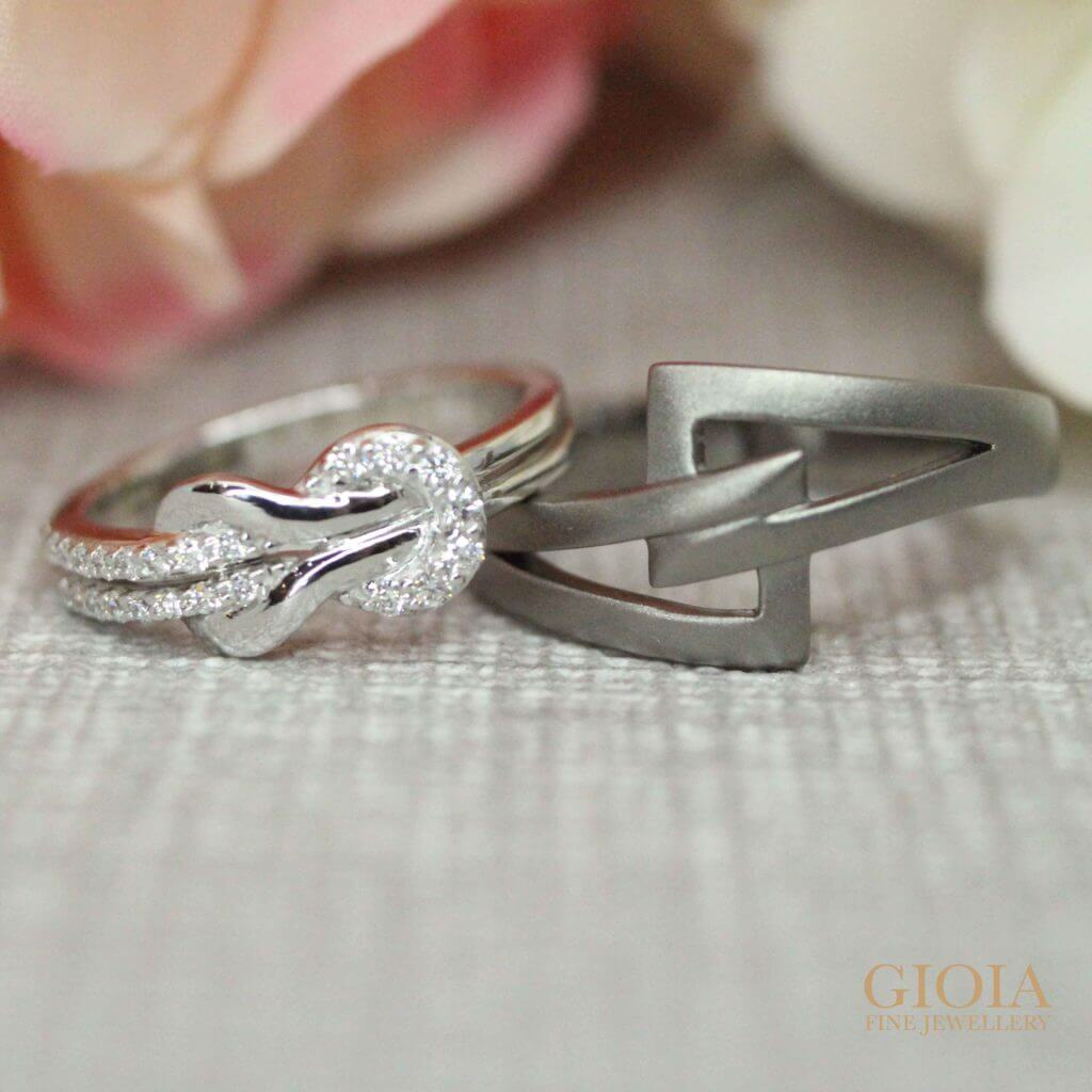 Wedding bands with ribbon diamond and matt gold ring, custom made wedding rings | Local Customised Jeweller
