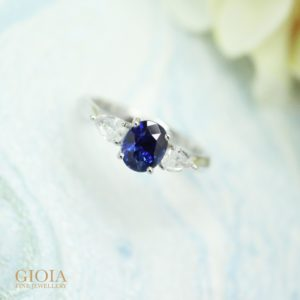 Royal blue unheated sapphire with white sapphire wedding ring | Customised engagement Ring with GIOIA Fine Jewellery