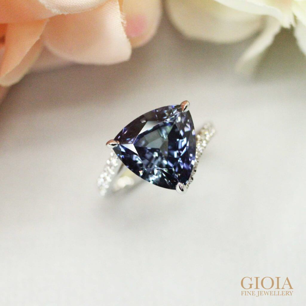 Unheated Tanzanite trilliant Gemstone custom set with diamond band Engagement Ring - Customised wedding proposal ring at GIOIA Fine Jewellery - Custom made designer Jeweller in Singapore with online boutique shop