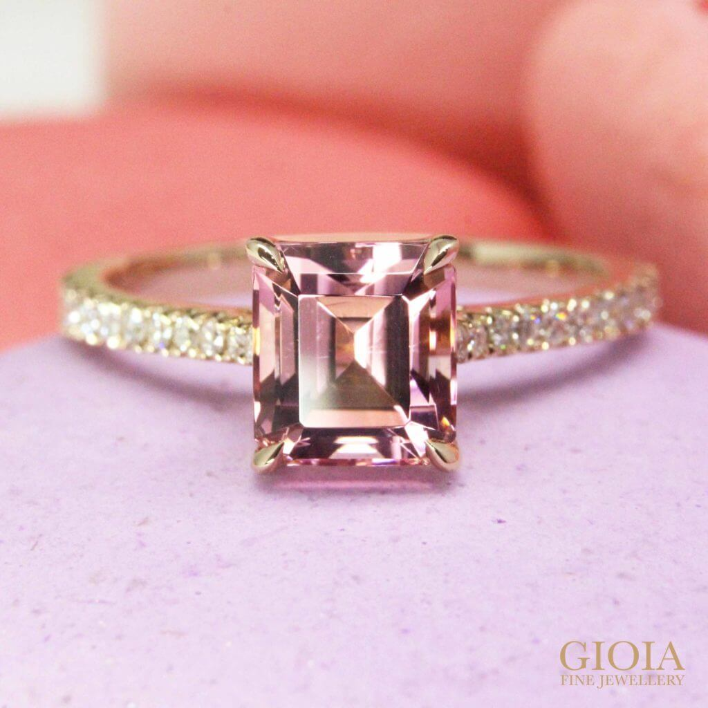Customised pink tourmaline proposal ring, customised with coloured gemstone and round brilliance diamond for wedding proposal engagement ring | Local Singapore bespoke customised Jeweller