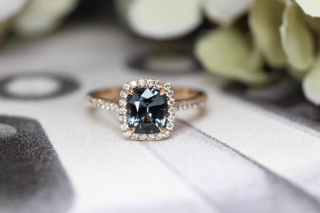 Greyish Blue Spinel Gemstone customised in rose gold 18k (750) with tapered brilliant diamond on the side bands, feminine look in the overall look - Customised Proposal Ring, Local Singapore Bespoke Jewellery in Wedding Jewellery