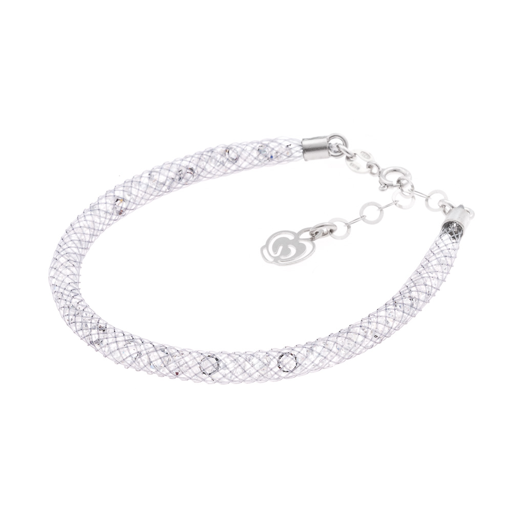 bracciale grigio argento e cristalli