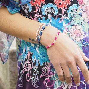 bracciale elastico argento azzurro