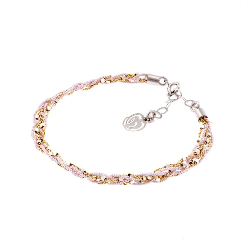 bracciale intrecci rosa ed oro