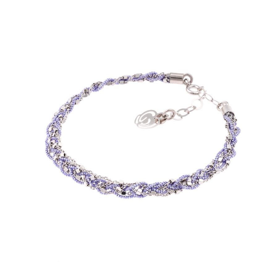 Bracciale lilla argento-925-tessuto