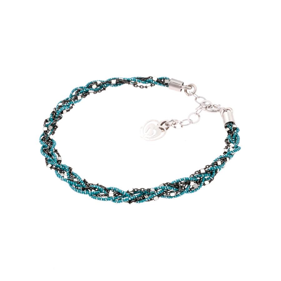 bracciale argento-925-tessuto azzurro