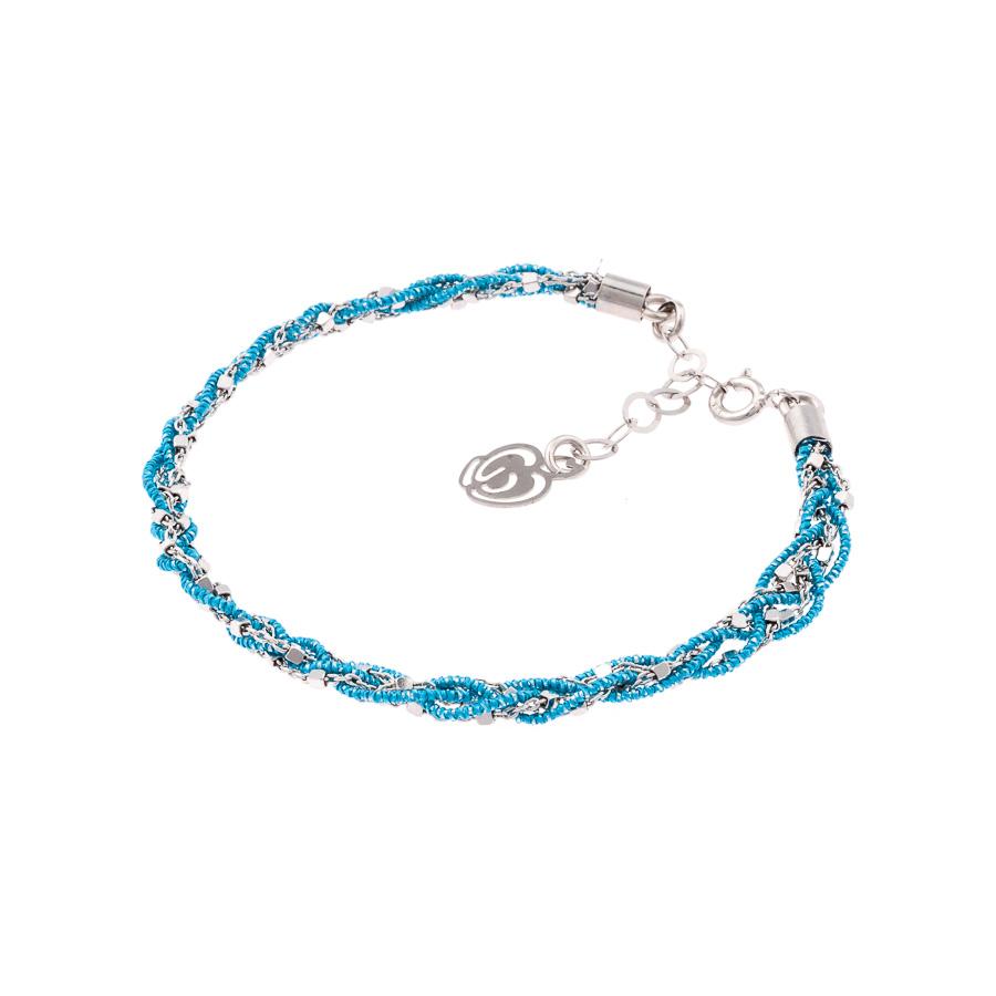 bracciale azzurro argento e tessuto