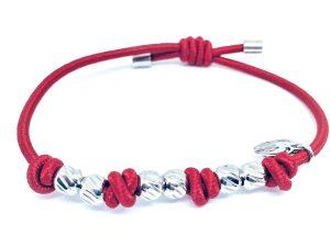 Bracciale rosso argento elasticizzato usabile anche per capelli.