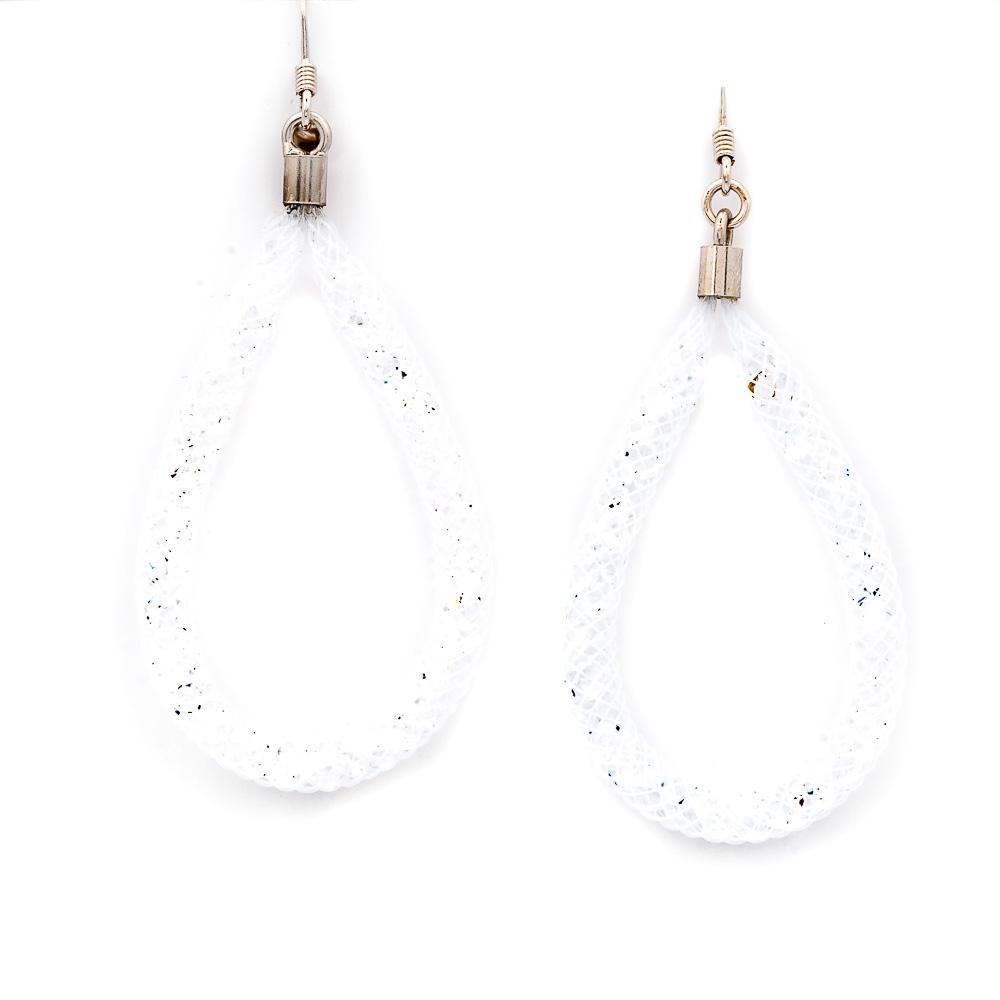 orecchini bianchi argento e cristalli