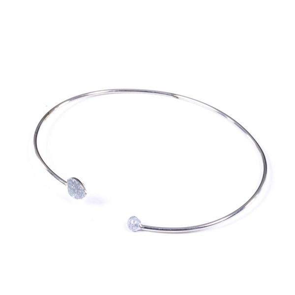 Bracciale bianco argento e smalto glitter a forma di cuore