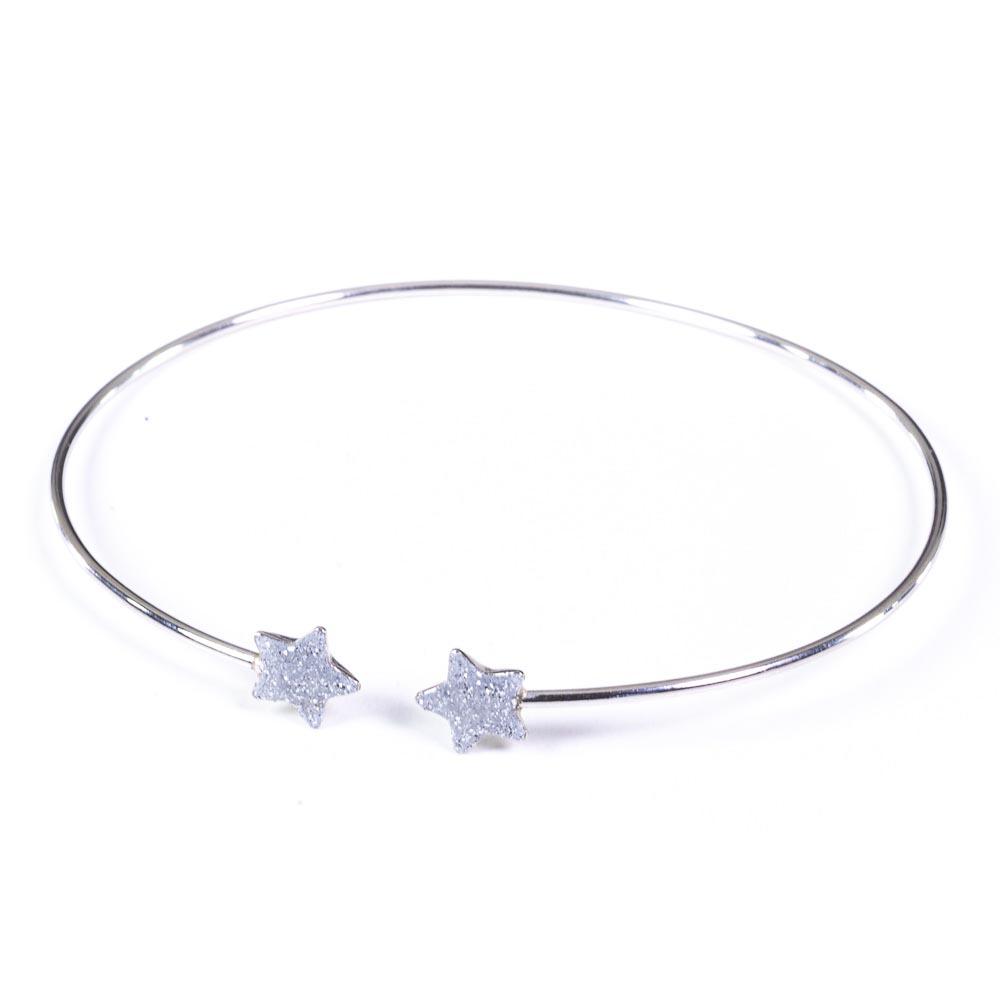 Bracciale bianco argento e smalto glitter a forma di stelle