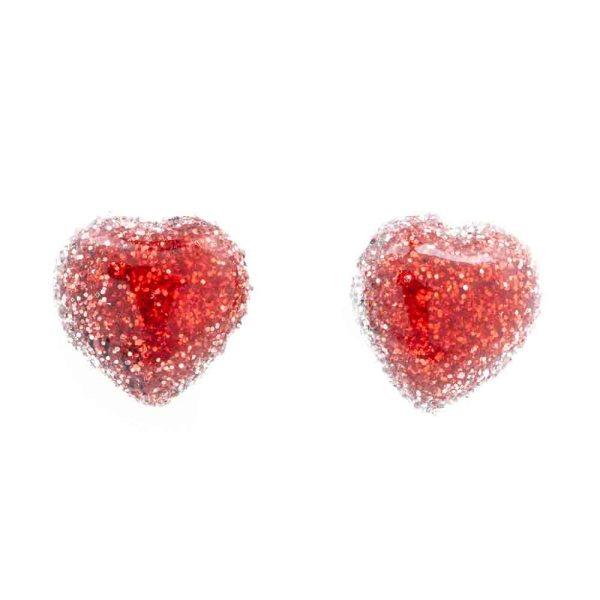 orecchini rossi lobo a forma di cuore