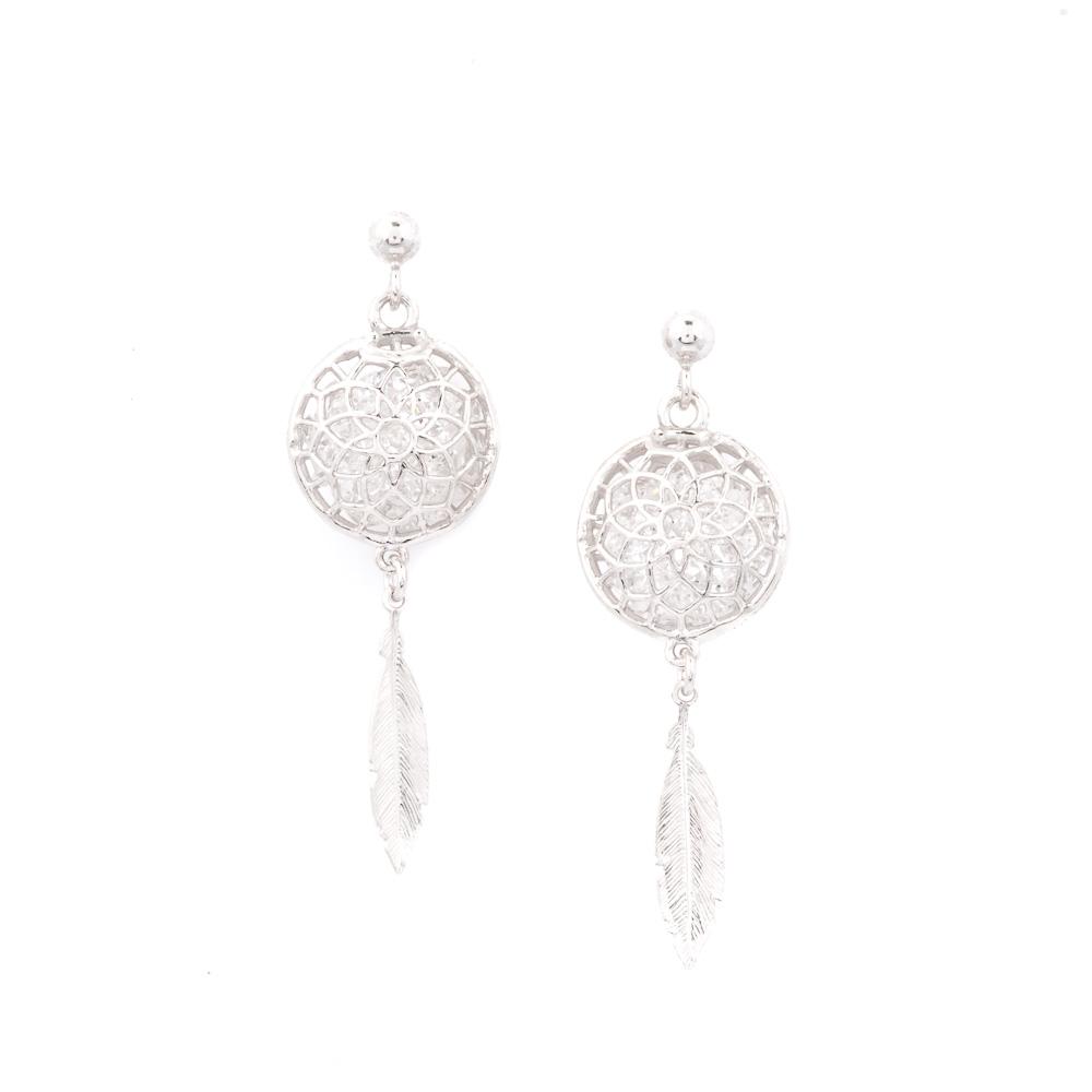 orecchini acchiappasogni argento e cristalli