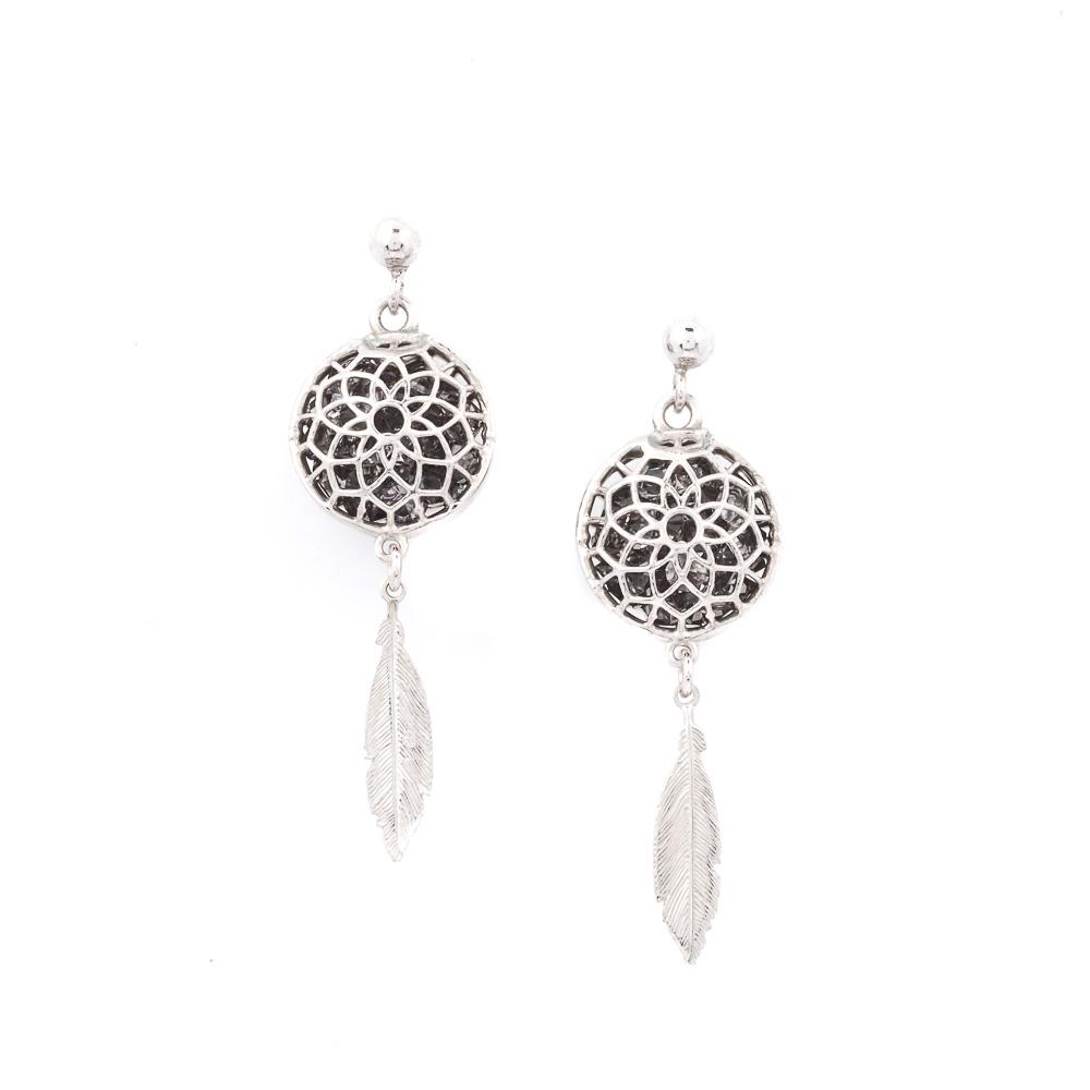 orecchini argento 925 e cristalli neri a forma di acchiappasogni
