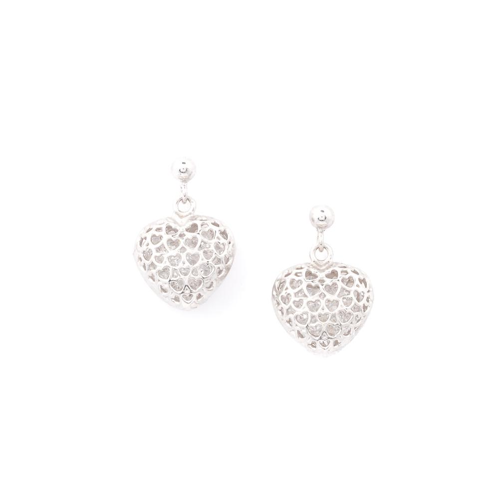 Orecchini argento 925 e cristalli a forma di cuore