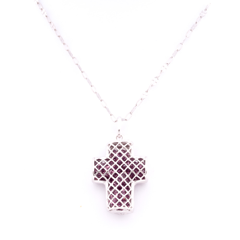 Ciondolo viola argento cristalli forma croce