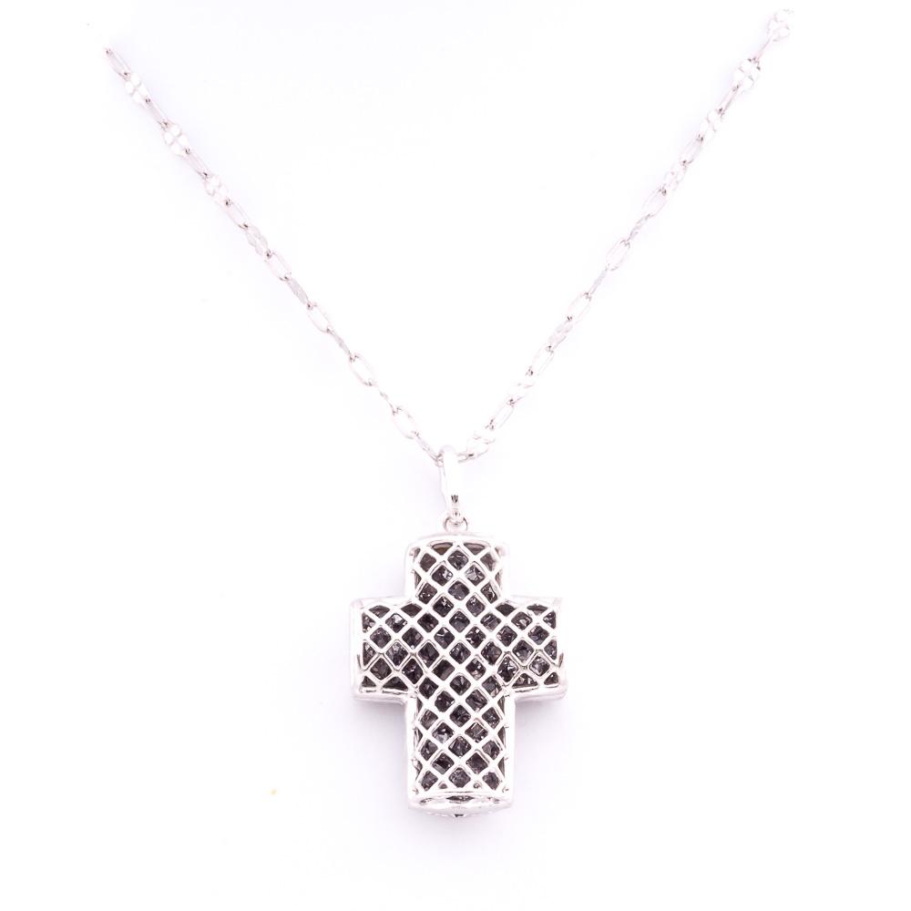 ciondolo argento-925 e cristalli a forma di croce, colore nero
