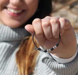 bracciale argento nero elasticizzato