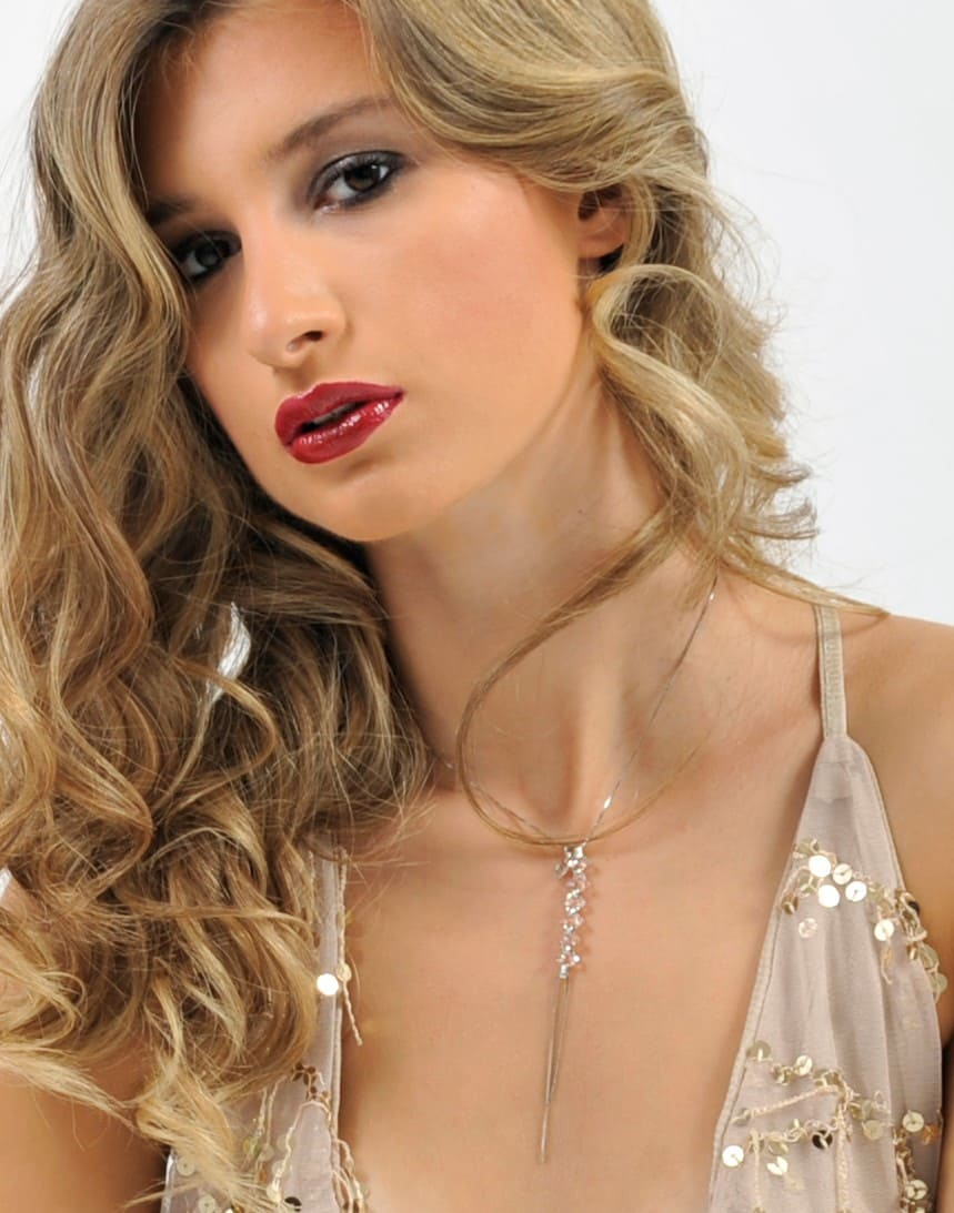 collana regolabile argento e cristalli rosa