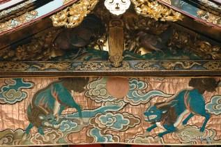 niwatori boko kirin antique textile wood carving gable gion festival kyoto japan