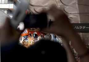 naginata boko naginata float crowds sacred rope cutting opening ceremony gion festival kyoto japan